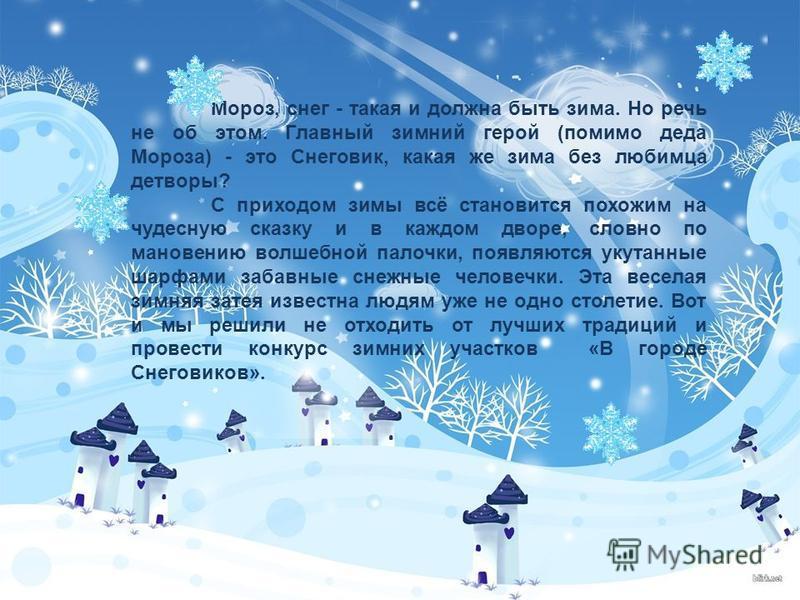 Мороз, снег - такая и должна быть зима. Но речь не об этом. Главный зимний герой (помимо деда Мороза) - это Снеговик, какая же зима без любимца детворы? С приходом зимы всё становится похожим на чудесную сказку и в каждом дворе, словно по мановению в