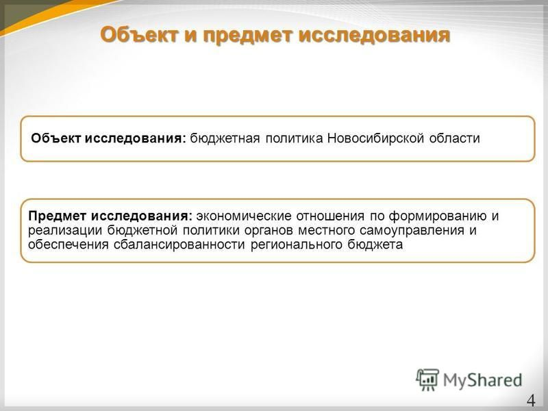 Объект и предмет исследования 4 Объект исследования: бюджетная политика Новосибирской области Предмет исследования: экономические отношения по формированию и реализации бюджетной политики органов местного самоуправления и обеспечения сбалансированнос