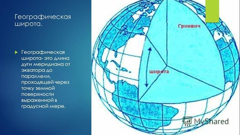 Географическая широта. Географическая широта- это длина дуги меридиана от экватора до параллели, проходящей через точку земной поверхности выраженной в градусной мере.