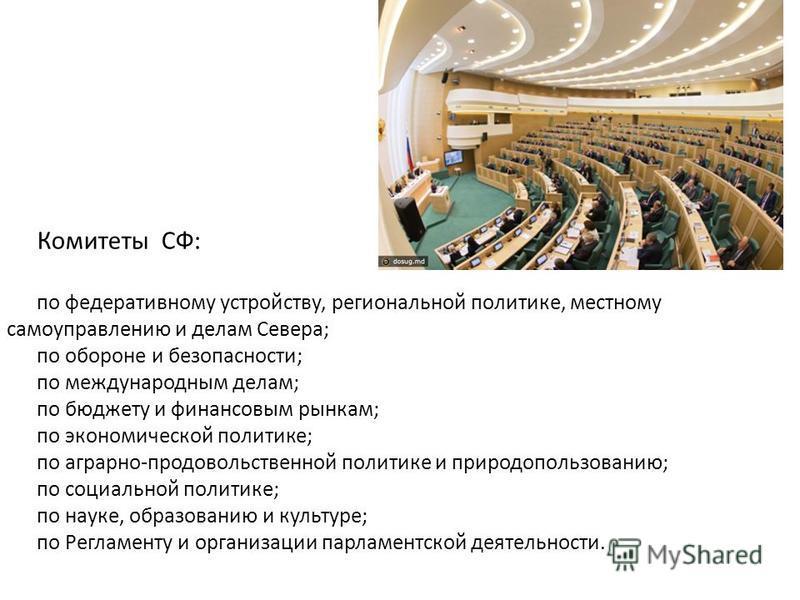 Комитеты СФ: по федеративному устройству, региональной политике, местному самоуправлению и делам Севера; по обороне и безопасности; по международным делам; по бюджету и финансовым рынкам; по экономической политике; по аграрно-продовольственной полити
