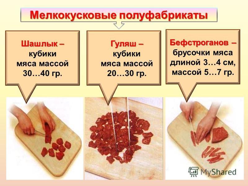 Мелкокусковые полуфабрикаты Шашлык – кубики мяса массой 30…40 гр. Гуляш – Гуляш – кубики мяса массой 20…30 гр. Бефстроганов – брусочки мяса длиной 3…4 см, массой 5…7 гр.