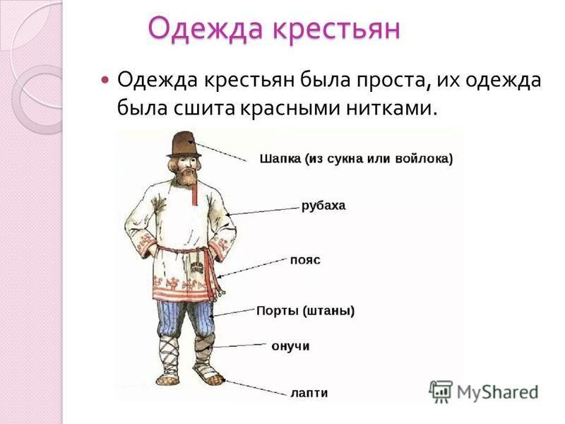 Одежда крестьян Одежда крестьян была проста, их одежда была сшита красными нитками.