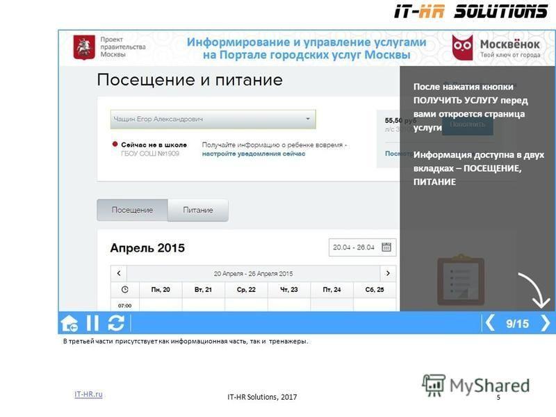 В третьей части присутствует как информационная часть, так и тренажеры. IT-HR.ru IT-HR Solutions, 2017 5