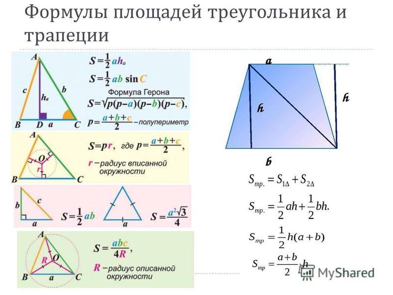 Формулы площадей треугольника и трапеции