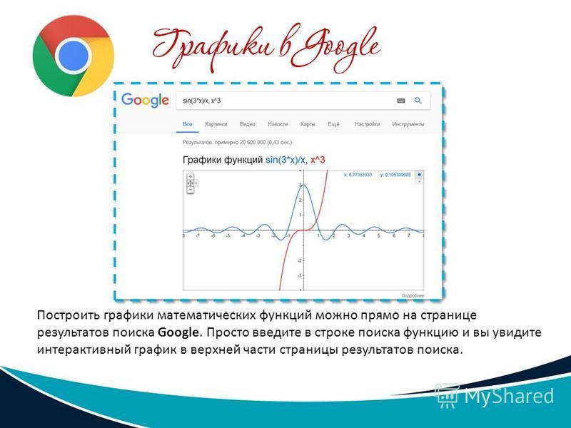 Построить графики математических функций можно прямо на странице результатов поиска Google. Просто введите в строке поиска функцию и вы увидите интерактивный график в верхней части страницы результатов поиска.