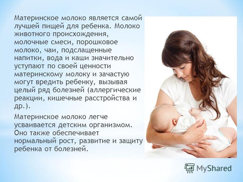 Материнское молоко является самой лучшей пищей для ребенка. Молоко животного происхождения, молочные смеси, порошковое молоко, чаи, подслащенные напитки, вода и каши значительно уступают по своей ценности материнскому молоку и зачастую могут вредить