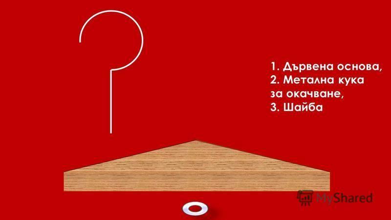 1. Дървена основа, 2. Метална кука за окачване, 3. Шайба