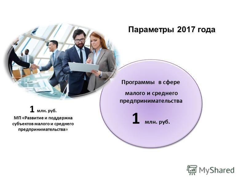 Программы в сфере малого и среднего предпринимательства 1 млн. руб. Программы в сфере малого и среднего предпринимательства 1 млн. руб. МП «Развитие и поддержка субъектов малого и среднего предпринимательства» Параметры 2017 года