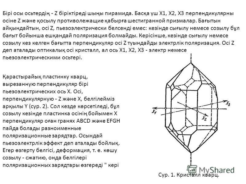 Бірі осы осьтердің - Z біріктіреді шыңы пирамида. Басқа үш X1, Х2, Х3 перпендикулярны осіне Z және қосылу противолежащие қабырға шестигранной призмалар. Бағытын айқындайтын, осі Z, пьезоэлектрический белсенді емс: кезінде сығылу немсе созылу бұл бағы