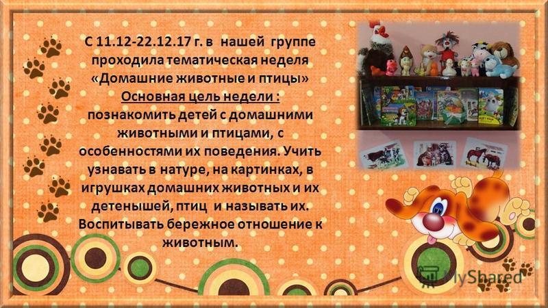 С 11.12-22.12.17 г. в нашей группе проходила тематическая неделя «Домашние животные и птицы» Основная цель недели : познакомить детей с домашними животными и птицами, с особенностями их поведения. Учить узнавать в натуре, на картинках, в игрушках дом
