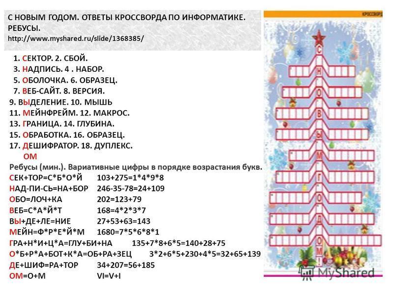 С НОВЫМ ГОДОМ. ОТВЕТЫ КРОССВОРДА ПО ИНФОРМАТИКЕ. РЕБУСЫ. http://www.myshared.ru/slide/1368385/ 1. СЕКТОР. 2. СБОЙ. 3. НАДПИСЬ. 4. НАБОР. 5. ОБОЛОЧКА. 6. ОБРАЗЕЦ. 7. ВЕБ-САЙТ. 8. ВЕРСИЯ. 9. ВЫДЕЛЕНИЕ. 10. МЫШЬ 11. МЕЙНФРЕЙМ. 12. МАКРОС. 13. ГРАНИЦА. 1