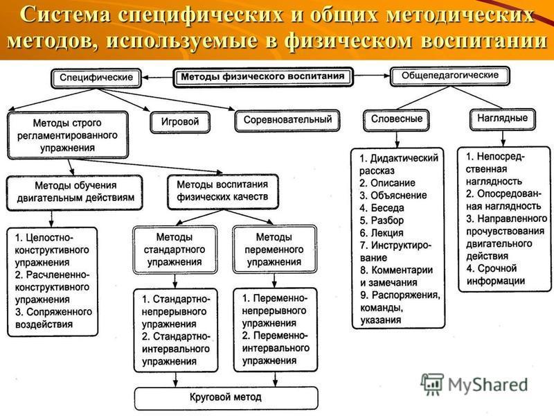 Система специфических и общих методических методов, используемые в физическом воспитании