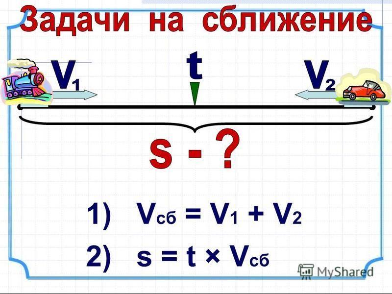 1) V сб = V 1 + V 2 2) s = t × V сб
