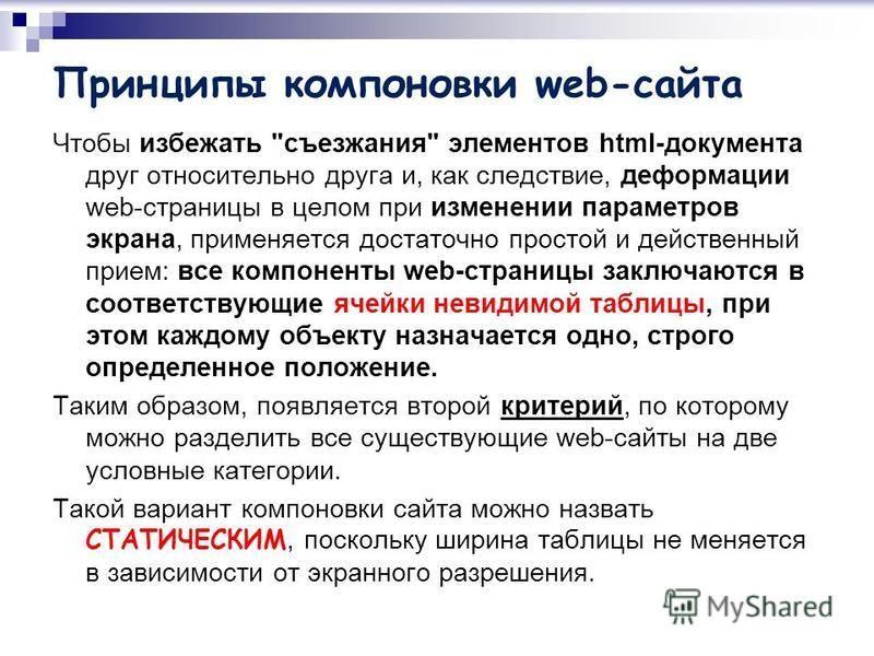 Принципы компоновки web-сайта Чтобы избежать