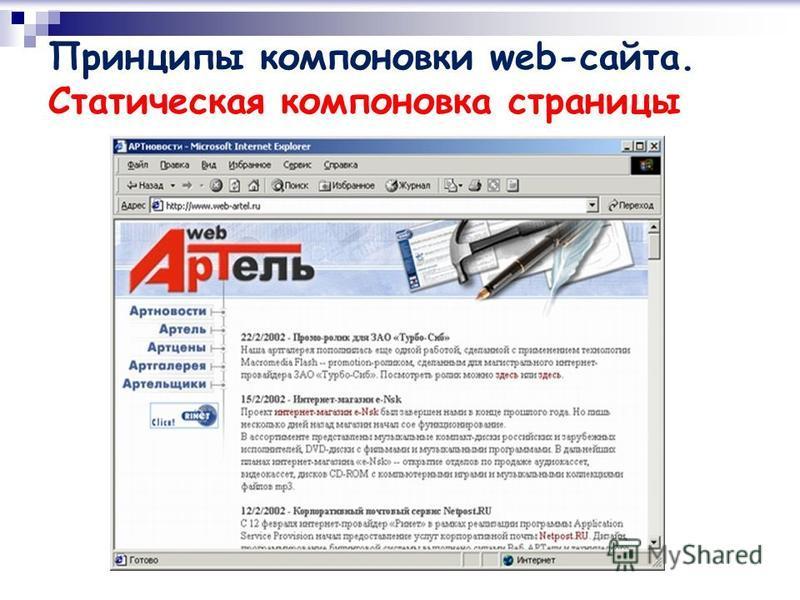 Принципы компоновки web-сайта. Статическая компоновка страницы