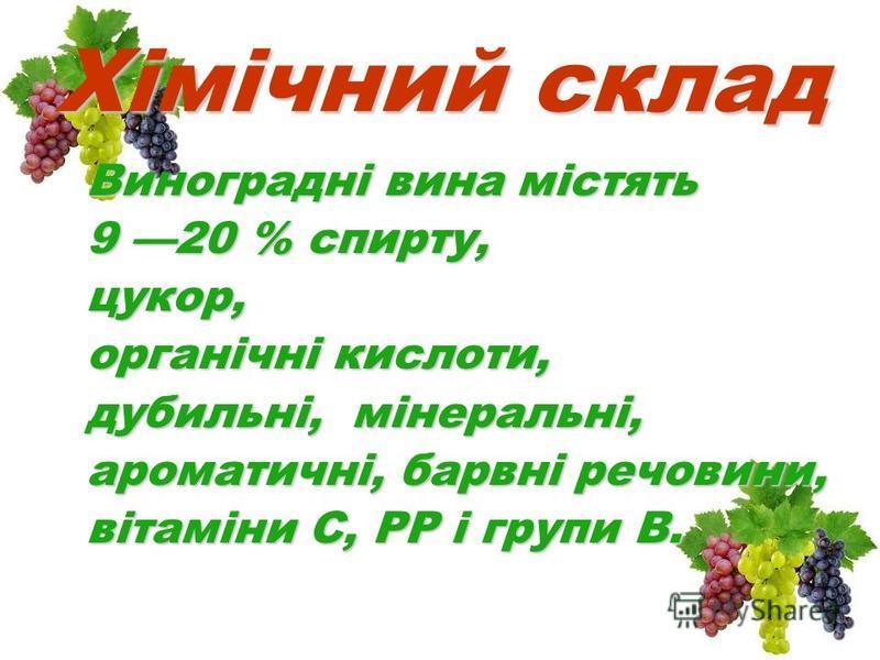 Хімічний склад Виноградні вина містять 9 20 % спирту, цукор, органічні кислоти, дубильні, мінеральні, ароматичні, барвні речовини, вітаміни С, РР і групи В.