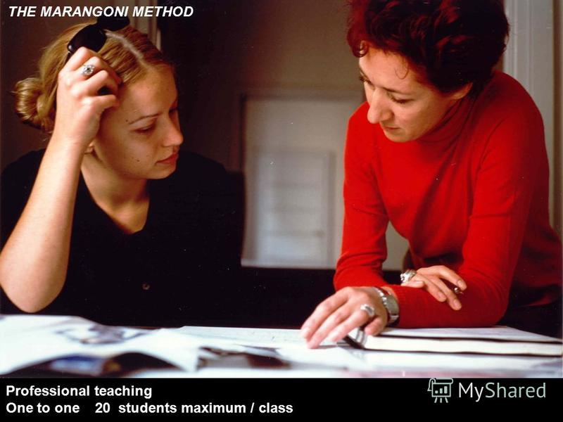 THE MARANGONI METHOD Professional teaching One to one 20 students maximum / class