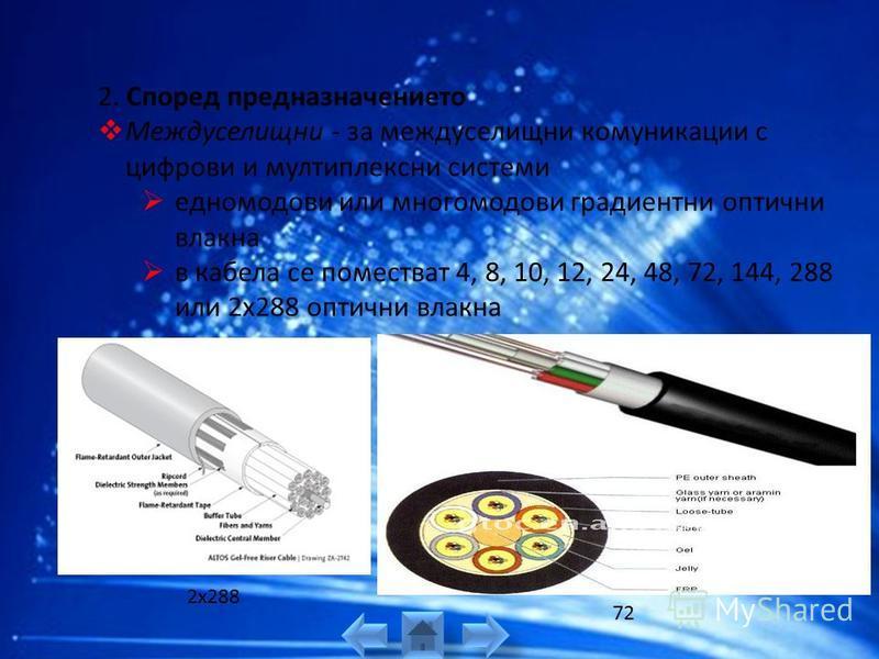 фиг. (б) с външен диаметър 8 mm - повивна конструкция с 18 оптични влакна; центриращо медно жило и оловна влагозащитна обвивка; голям брой на влакната - 42, 126 и по-големи Кабели с лентова конструкция - фиг. (в) изграждат се от двуслойни полиетилено
