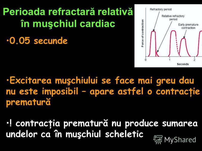 Perioada refractară relativă în muşchiul cardiac 0.05 secunde Excitarea muşchiului se face mai greu dau nu este imposibil – apare astfel o contracţie prematură ! contracţia prematură nu produce sumarea undelor ca în muşchiul scheletic