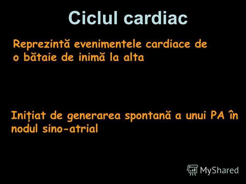 Ciclul cardiac Reprezintă evenimentele cardiace de o bătaie de inimă la alta Iniţiat de generarea spontană a unui PA în nodul sino-atrial