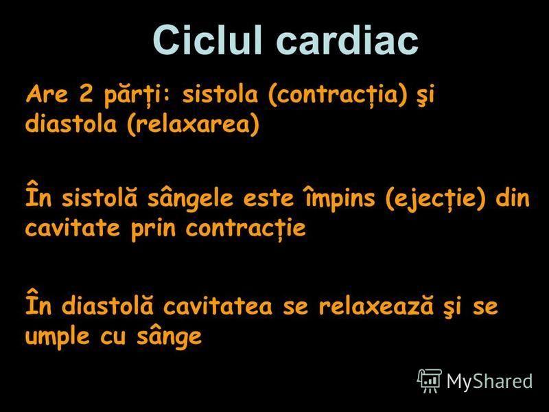 Ciclul cardiac În sistolă sângele este împins (ejecţie) din cavitate prin contracţie Are 2 părţi: sistola (contracţia) şi diastola (relaxarea) În diastolă cavitatea se relaxează şi se umple cu sânge