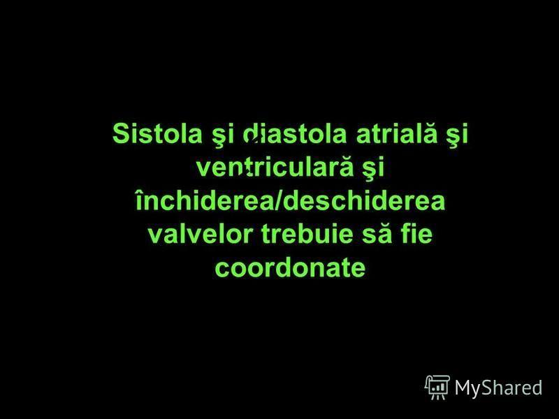 Sistola şi diastola atrială şi ventriculară şi închiderea/deschiderea valvelor trebuie să fie coordonate