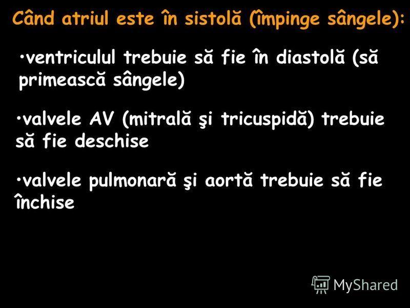 Când atriul este în sistolă (împinge sângele): ventriculul trebuie să fie în diastolă (să primească sângele) valvele AV (mitrală şi tricuspidă) trebuie să fie deschise valvele pulmonară şi aortă trebuie să fie închise