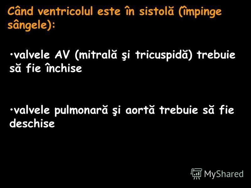 Când ventricolul este în sistolă (împinge sângele): valvele AV (mitrală şi tricuspidă) trebuie să fie închise valvele pulmonară şi aortă trebuie să fie deschise