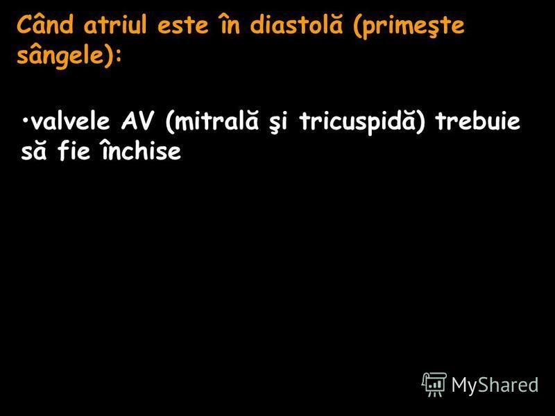 Când atriul este în diastolă (primeşte sângele): valvele AV (mitrală şi tricuspidă) trebuie să fie închise