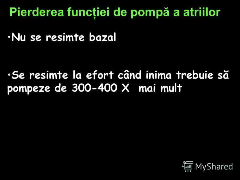 Pierderea funcţiei de pompă a atriilor Nu se resimte bazal Se resimte la efort când inima trebuie să pompeze de 300-400 X mai mult