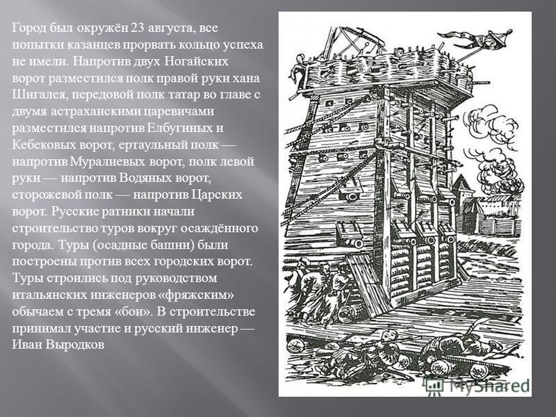 Город был окружён 23 августа, все попытки казанцев прорвать кольцо успеха не имели. Напротив двух Ногайских ворот разместился полк правой руки хана Шигалея, передовой полк татар во главе с двумя астраханскими царевичами разместился напротив Елбугиных