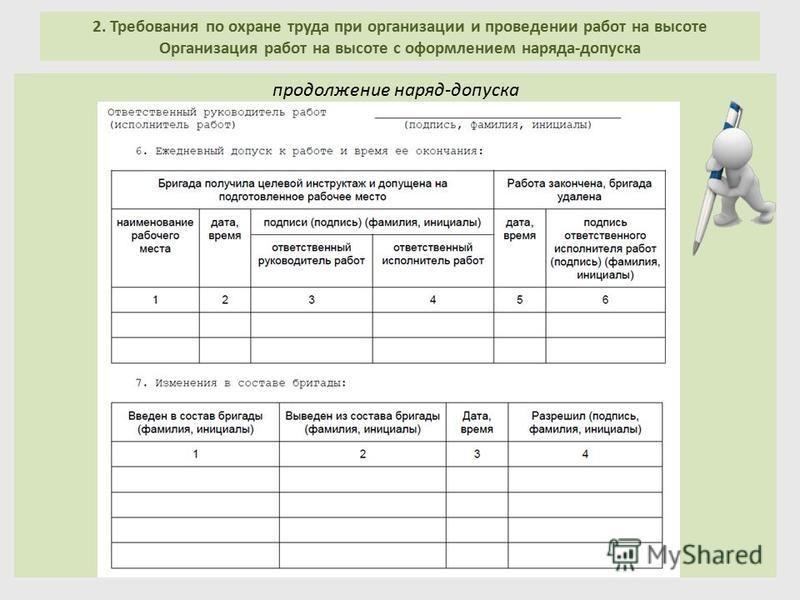 2. Требования по охране труда при организации и проведении работ на высоте Организация работ на высоте с оформлением наряда-допуска продолжение наряд-допуска