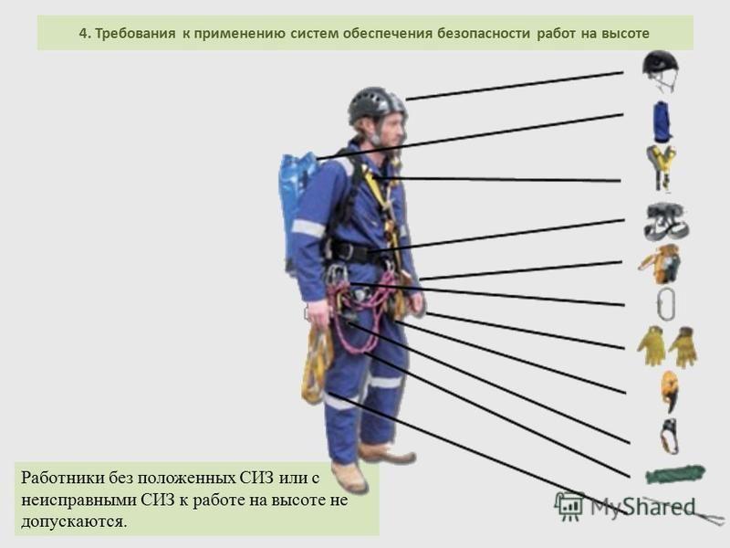 4. Требования к применению систем обеспечения безопасности работ на высоте Работники без положенных СИЗ или с неисправными СИЗ к работе на высоте не допускаются.