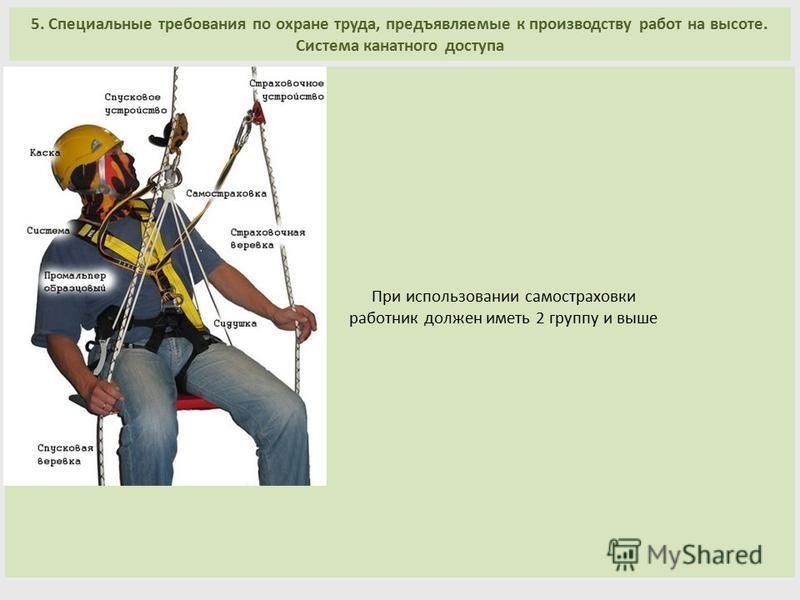 При использовании самостраховки работник должен иметь 2 группу и выше