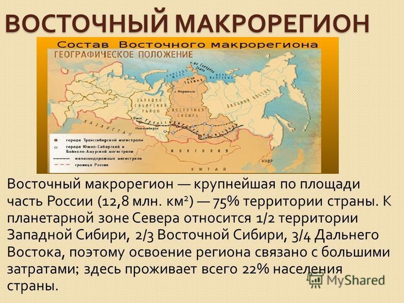 ВОСТОЧНЫЙ МАКРОРЕГИОН Восточный макрорегион крупнейшая по площади часть России (12,8 млн. км 2 ) 75% территории страны. К планетарной зоне Севера относится 1/2 территории Западной Сибири, 2/3 Восточной Сибири, 3/4 Дальнего Востока, поэтому освоение р