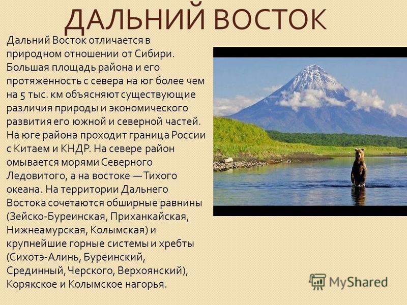 ДАЛЬНИЙ ВОСТОК Дальний Восток отличается в природном отношении от Сибири. Большая площадь района и его протяженность с севера на юг более чем на 5 тыс. км объясняют существующие различия природы и экономического развития его южной и северной частей.
