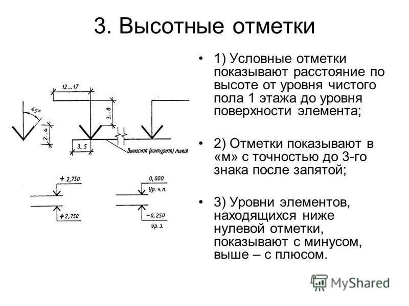 3. Высотные отметки 1) Условные отметки показывают расстояние по высоте от уровня чистого пола 1 этажа до уровня поверхности элемента; 2) Отметки показывают в «м» с точностью до 3-го знака после запятой; 3) Уровни элементов, находящихся ниже нулевой