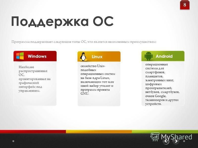 Поддержка ОС Программа поддерживает следующие типы ОС, что является несомненным преимуществом: Наиболее распространенная ОС, ориентированная на графический интерфейс под управлением. Windows 8 8 LinuxAndroid семейство Unix- подобных операционных сист