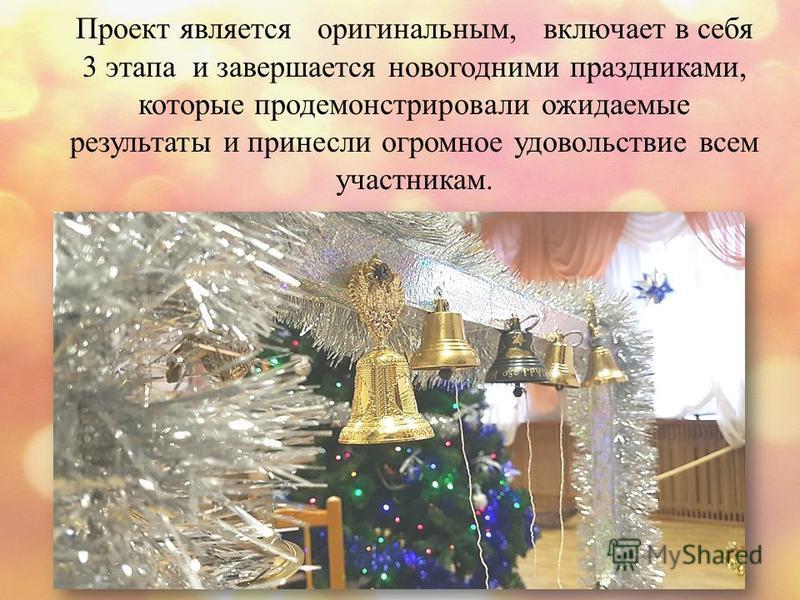 Проект является оригинальным, включает в себя 3 этапа и завершается новогодними праздниками, которые продемонстрировали ожидаемые результаты и принесли огромное удовольствие всем участникам.