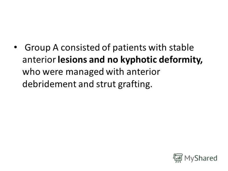 Group A consisted of patients with stable anterior lesions and no kyphotic deformity, who were managed with anterior debridement and strut grafting.