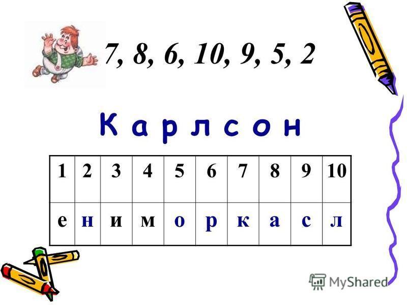 7, 8, 6, 10, 9, 5, 2 К а р л с о н 12345678910 ениморкасл