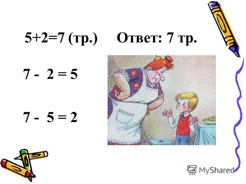 5+2=7 (тр.) Ответ: 7 тр. 7 - 2 = 5 7 - 5 = 2