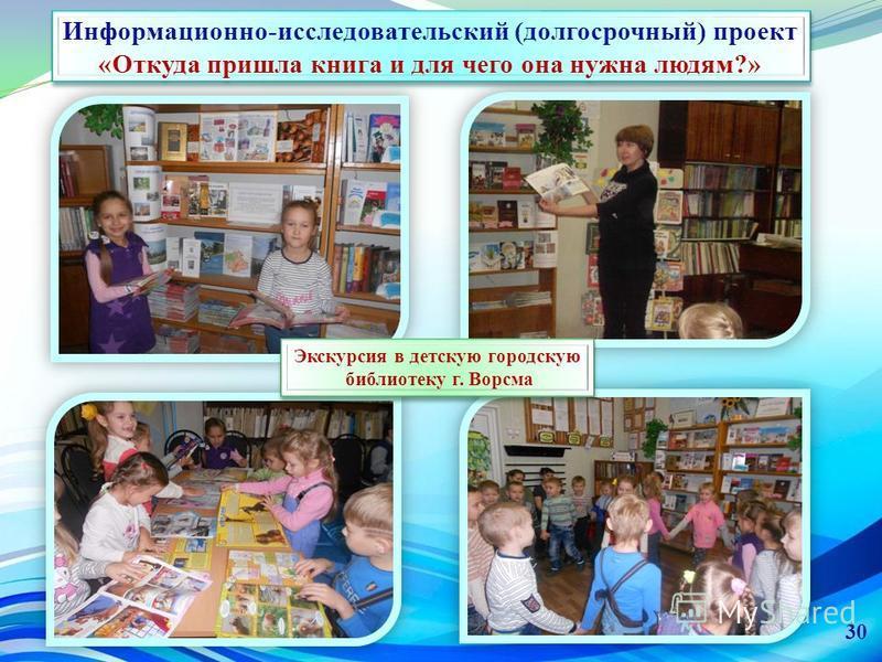 Информационно-исследовательский (долгосрочный) проект «Откуда пришла книга и для чего она нужна людям?» Экскурсия в детскую городскую библиотеку г. Ворсма Экскурсия в детскую городскую библиотеку г. Ворсма 30