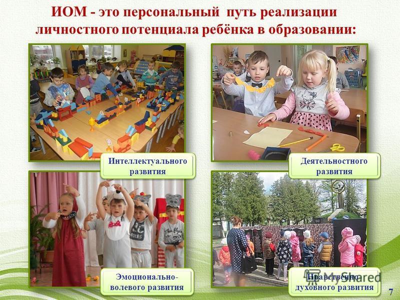 ИОМ - это персональный путь реализации личностного потенциала ребёнка в образовании: Интеллектуального развития Эмоционально- волевого развития Деятельностного развития Нравственно- духовного развития 7