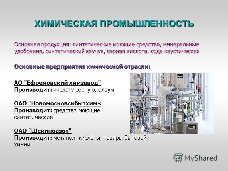 ХИМИЧЕСКАЯ ПРОМЫШЛЕННОСТЬ Основная продукция: синтетические моющие средства, минеральные удобрения, синтетический каучук, серная кислота, сода каустическая Основные предприятия химической отрасли: АО