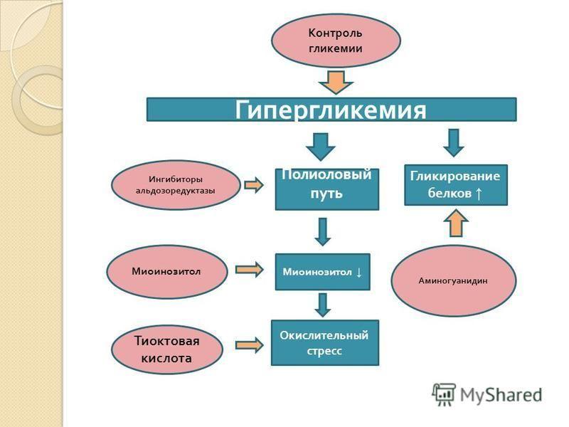 Гипергликемия Контроль гликемии Полиоловый путь Ингибиторы альдозоредуктазы Миоинозитол Гликирование белков Аминогуанидин Окислительный стресс Тиоктовая кислота