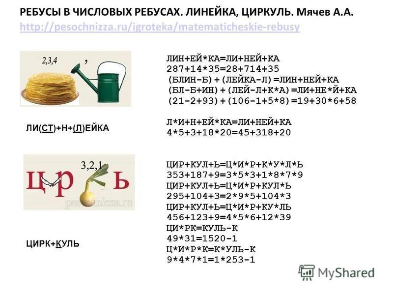 РЕБУСЫ В ЧИСЛОВЫХ РЕБУСАХ. ЛИНЕЙКА, ЦИРКУЛЬ. Мячев А.А. http://pesochnizza.ru/igroteka/matematicheskie-rebusy http://pesochnizza.ru/igroteka/matematicheskie-rebusy ЛИН+ЕЙ*КА=ЛИ+НЕЙ+КА 287+14*35=28+714+35 (БЛИН-Б)+(ЛЕЙКА-Л)=ЛИН+НЕЙ+КА (БЛ-Б+ИН)+(ЛЕЙ-Л