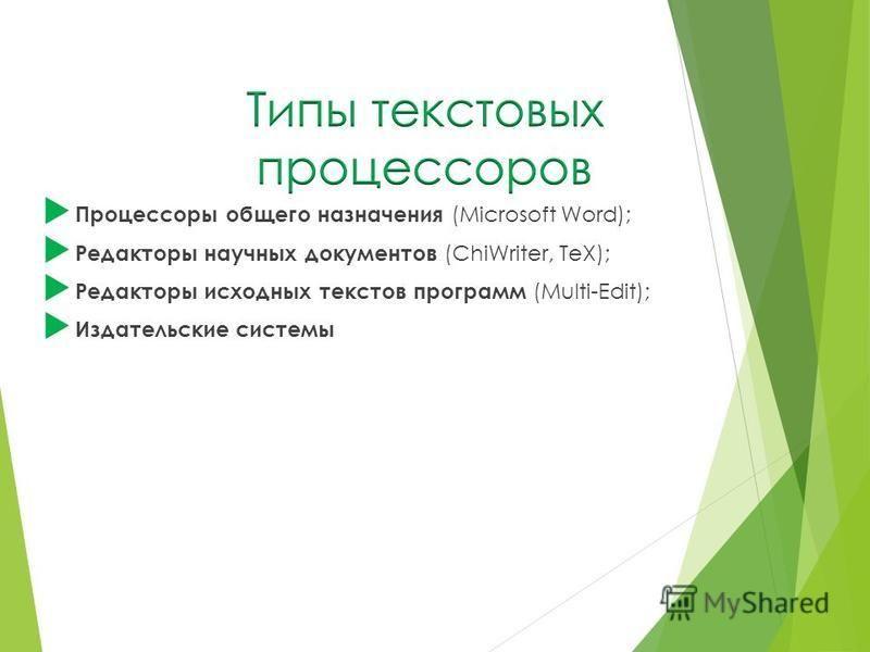 Процессоры общего назначения (Microsoft Word); Редакторы научных документов (ChiWriter, TeX); Редакторы исходных текстов программ (Multi-Edit); Издательские системы