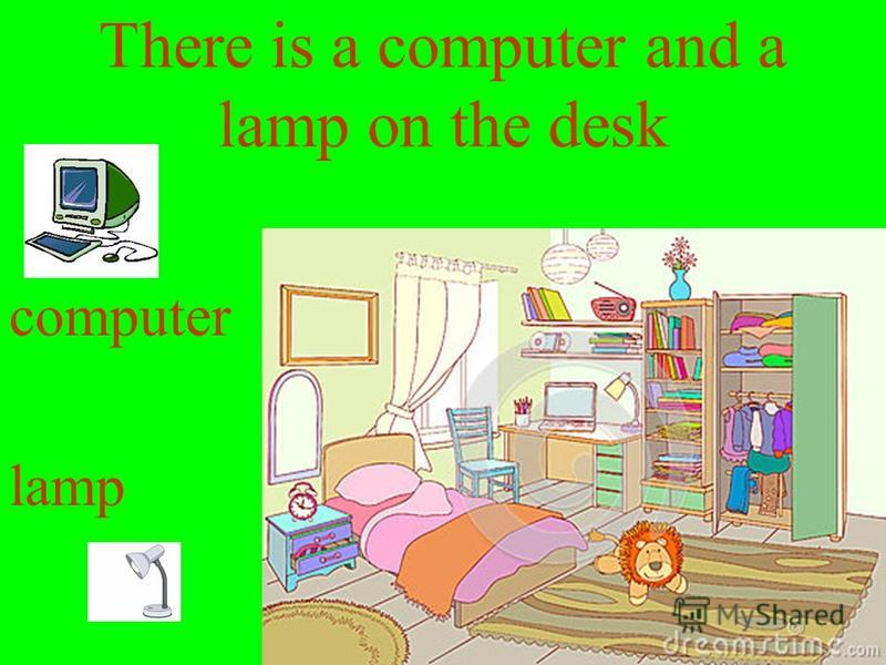 There is a computer and a lamp on the desk computer lamp