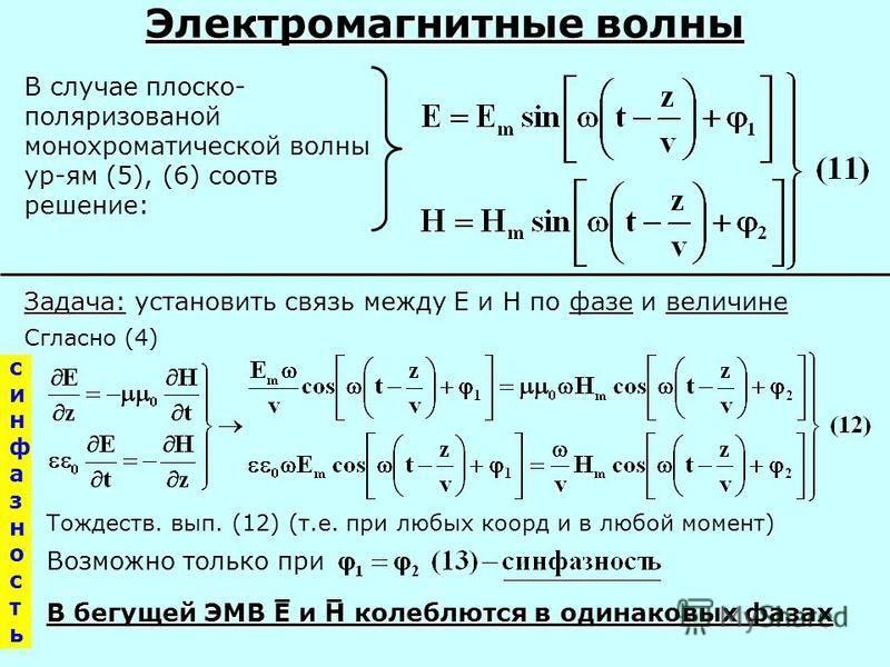 Электромагнитные волны В случае плоско- поляризованой монохроматической волны ур-ям (5), (6) соотв решение: Задача Задача: установить связь между E и H по фазе и величине Сгласно (4) синфазностьсинфазность Тождеств. вып. (12) (т.е. при любых коорд и